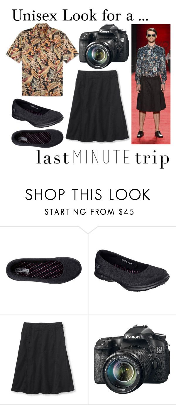 """Men's Unisex Look for a Last Minute Trip"" by brennk ❤ liked on Polyvore featuring Skechers, Eos, men's fashion, menswear and lastminutetrip"