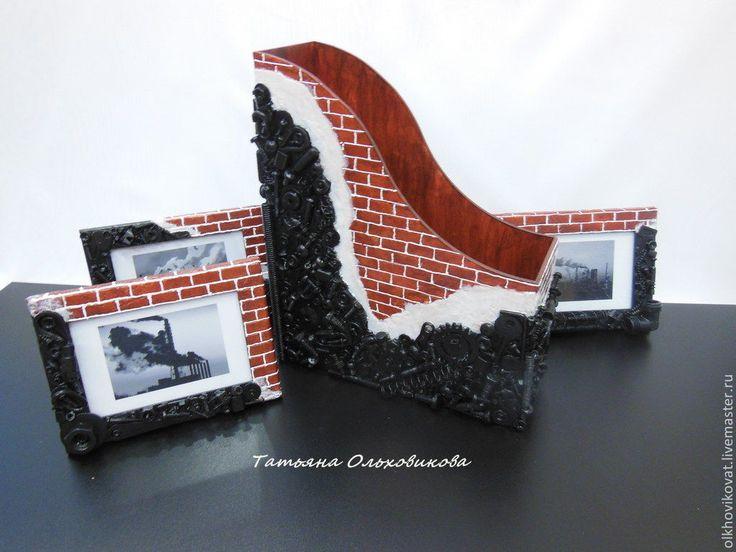 """Купить Фоторамка-панно """"Лофт"""", эксклюзивный декор - черный, лофт, фоторамка, красный, кирпичная стена"""