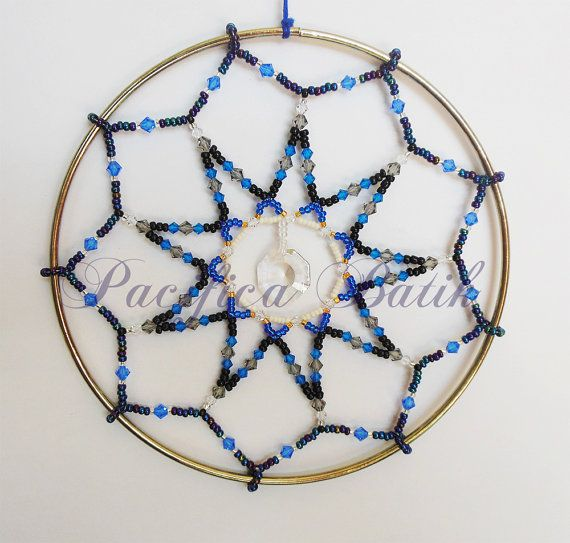 Black & Blue beaded suncatcher by pacificacreations on Etsy, $50.00