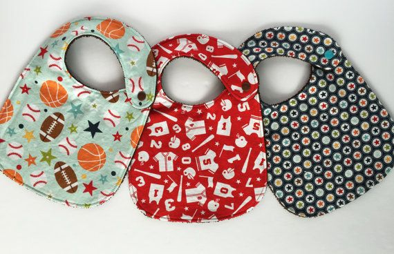 Baby Bib Set Set of 3 Play Ball Blue by SewCutiePieBoutique
