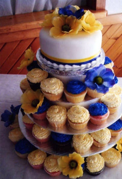 Cup cake wedding cake; different colors but love the idea
