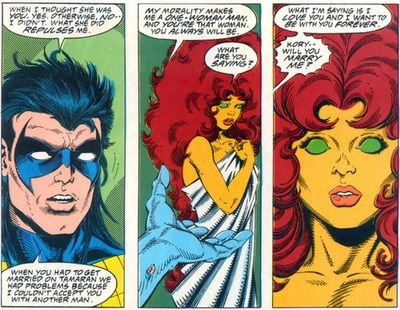 Nightwing (Robin or Dick Grayson) and Starfire (Koriand`r) comic strip (1980`s comic from Teen Titans)