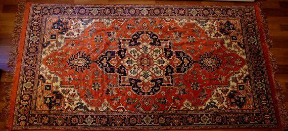 Large Vintage Rug aztec pattern kilim viscose by MadeInTheUSSR