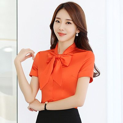 White Orange Two Color Women Shirts Formal Short Regular Sleeve Bow Decoration Business Solid Elagant Work Blouse