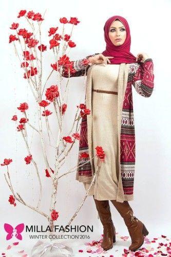 Long tribal cardigan hijab look 333x500