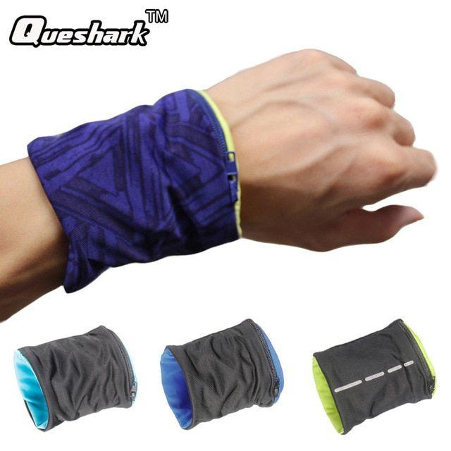 2Pcs Sports Running Wristband Sweatband Wrist Wrap Wallet with Zipper Pocket