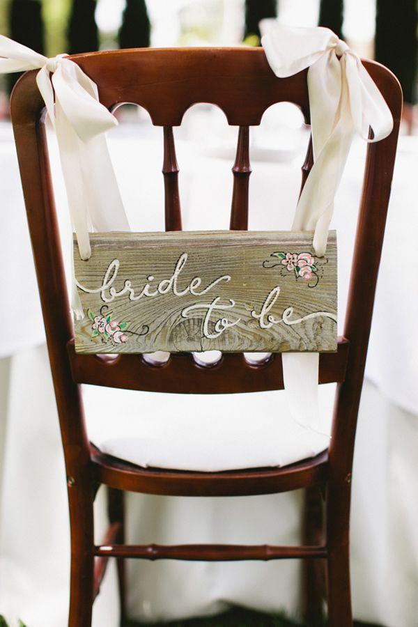 chair back sign for a bridal shower, photo by Inkspot Photography http://ruffledblog.com/jefferson-street-mansion-bridal-shower #weddingideas