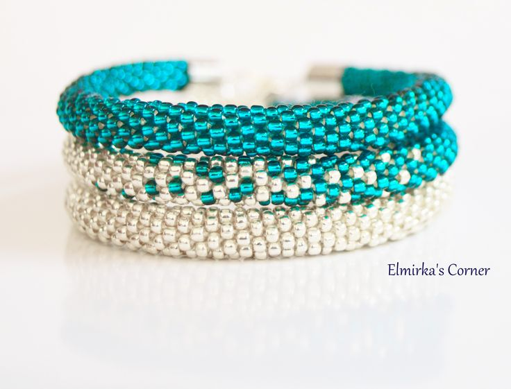 Turquoise and silver handmade bead bracelet see more: https://www.facebook.com/ElmirkasCorner/posts/851302874977133