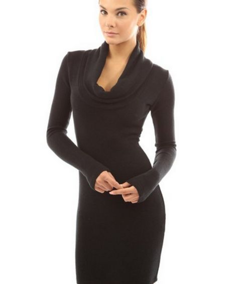 U405 Woman Sexy Long-Sleeve Deep Neck Pure Color Hip Package Conservative Dress