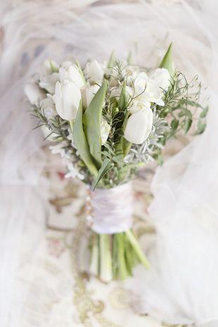 white tulip wedding bouquet | onefabday.com