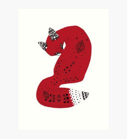 Red Tribal Fox Art Print