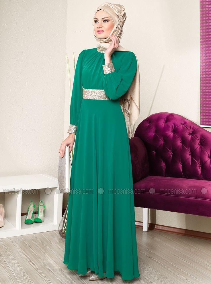 Collar and Menset Gold Chiffon Abiye Dress - Green - MODAYSA