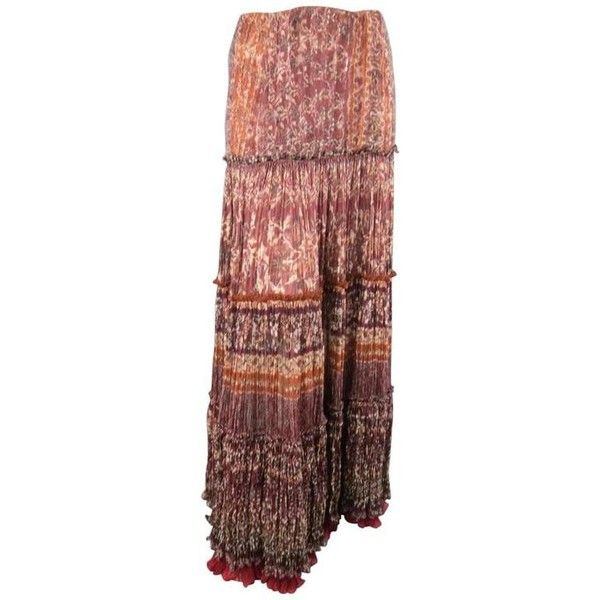 Preowned Oscar De La Renta Size 8 Burgundy Floral Textured Silk Boho... ($688) ❤ liked on Polyvore featuring skirts, red, long ruffle skirt, ruffle maxi skirt, summer maxi skirts, bohemian maxi skirt and red maxi skirt