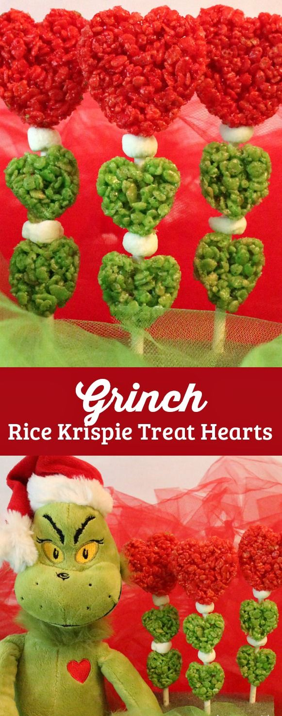 Grinch Rice Krispie Treat Hearts ~ A super fun and very easy to make Christmas Treat that is perfect for a How the Grinch Stole Christmas family movie night. Or how about making them as a fun Christmas Dessert for your annual Christmas Party