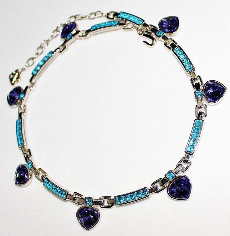 Gorgeous Signed SWAROVSKI Crystal Rhinestone Purple Blue Necklace, Swan Mark #Swarovski