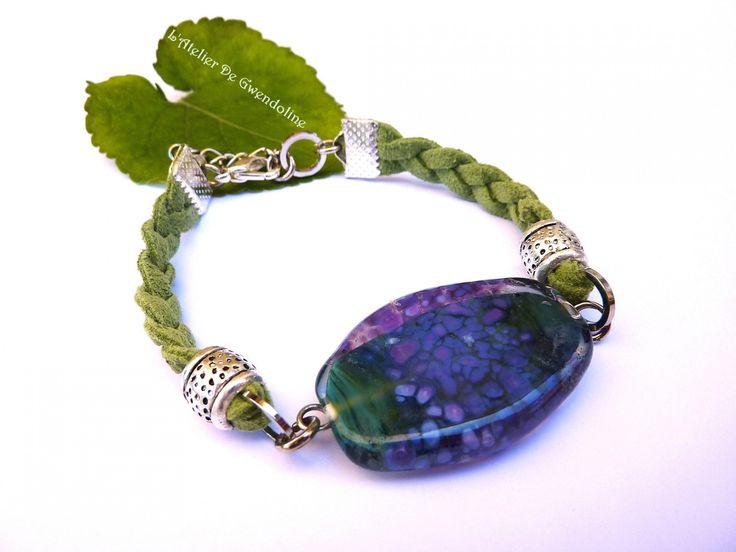 Bracelet NYMPHEAS mauve parme et vert - Perle d'art en verre filé - b : Bracelet par l-atelier-de-gwendoline