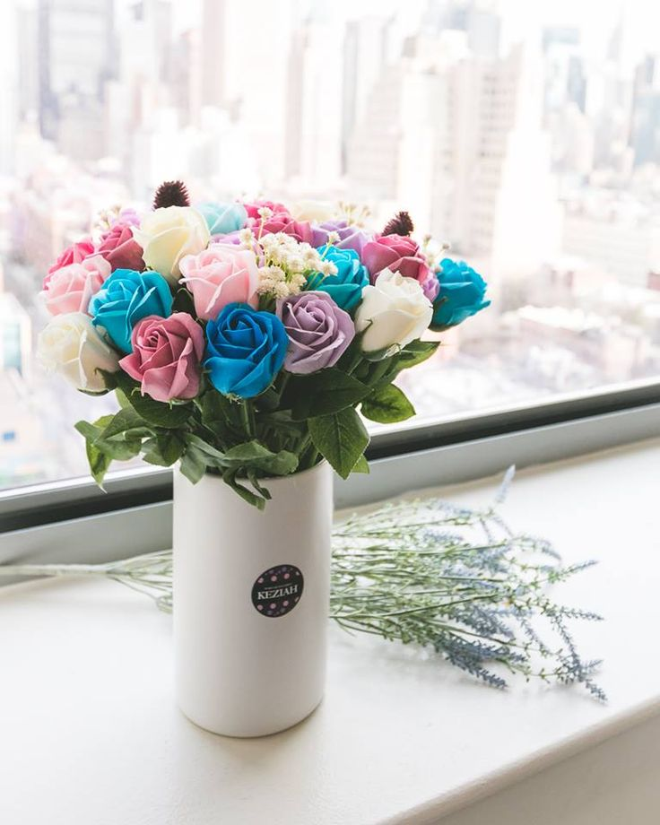 """- 50 roses soap flowers assorted color flowers. - Measures appoximately 15 1/2""""(39cm) tall (8"""" (20cm) tall vase only) - Includes at least 1 different Bushes and Bushes will vary - ITEM # : M1633 - Price : $140 - Delivery : fee not included email us for detail of delivery #www.keziaherez.com #Order keziaherez@gmail.com #mother's day gift #happybirthday gift #valentinesday gift #soapflower #love #flower stagram #flower"""