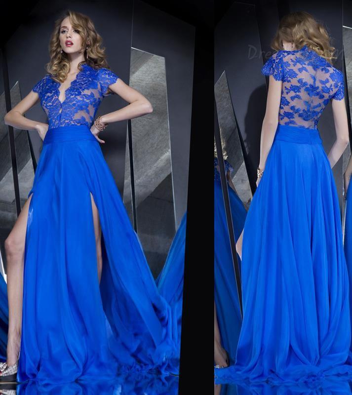 Dresswe.com SUPPLIES Sexy Elegant V-Neck Lace Split-Front Sweep/Brush Train Prom Dress Party Dresses (2)