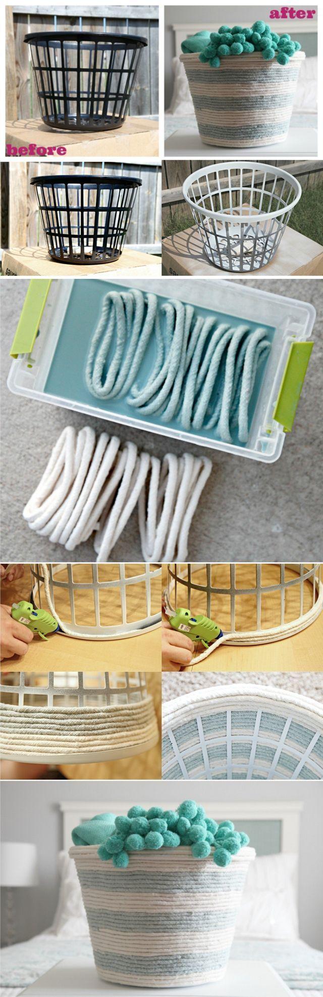 Hoy traemos dos interesantes ejemplos para crear cestas con cuerda, utilizando una cesta de plástico como base y silicona caliente para unir el conjunto. Quizá el proceso aunque bastante sencillo, pue