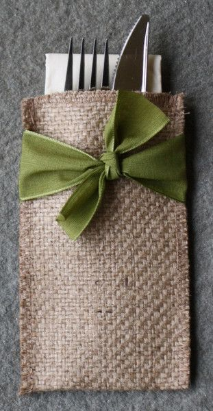 Cutlery Couture Hand-Tied Ribbon Collection.  This shade of green goes with everything.  Add a flower stem behind the knot for a special touch.