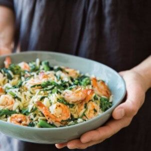 Need a one pot dish? It doesn'tt get much easier than this shrimp and broccolini orzo is an easy weeknight dinner.