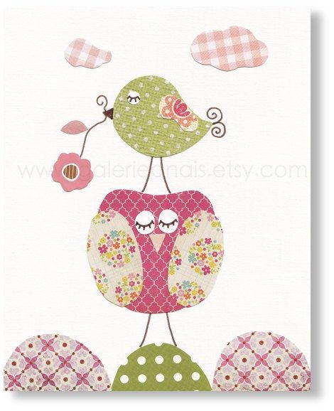Nursery Art Baby Girl Nursery Decor Owl nursery por GalerieAnais