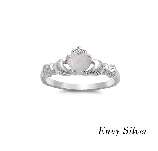 Irish Claddagh Ring 925 Sterling Silver White Lab by EnvySilver