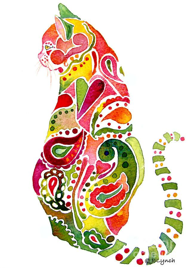 Paisley Cat 2 Painting by Jo Lynch