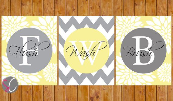 Floral Chevron Bathroom Wall Decor Flush Wash Brush Teen Child Adult Art Butter Yellow Grey Gray 8x10 Digital JPG Instant Download (140)