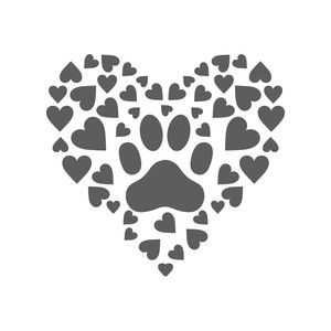Silhouette Design Store: paw print hearts