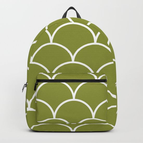 "Our Backpacks are crafted with spun poly fabric for durability and high print quality. Thoughtful details include double zipper enclosures, padded nylon back and bottom, interior laptop pocket (fits up to 15""), adjustable shoulder straps and front pocket for accessories. Dry clean or spot clean only. One unisex size: 17.75""(H) x 12.25""(W) x 5.75""(D).  Back to school backpack #society6 #backpack #loveschool #backtoschool #school #scales #geometric #abstract #cute #pretty"