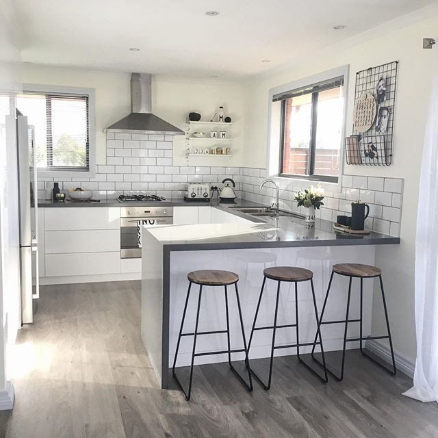 The Interior Stylists you should be following on Instagram Scandi kitchen, industrial stools, scandi stools, modern kitchen, timber floors kitchen