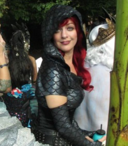 """""""Mermaid Assassin"""" costume by Lorigami for Sailors and Sirens float in Halloween Parade."""