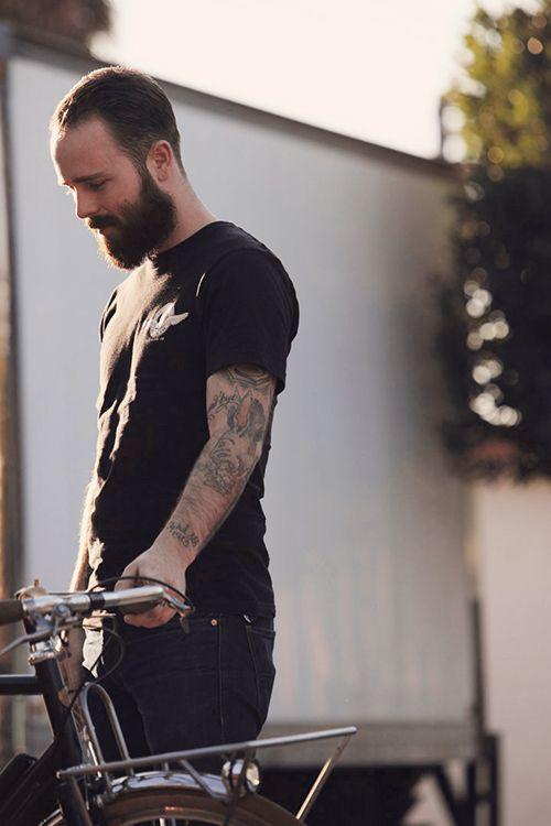 bike, beard, and ink.