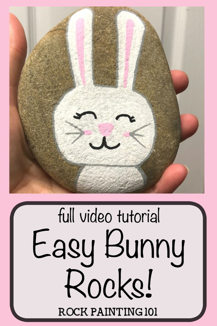 This Easter bunny rock is an adorable Easter rock painting idea. The simple block painting technique makes it an easy painted rock for beginners to try! #bunnyrock #easterbunnyrock #easterrockpainting #rockpaintingideas #stonepainting #howtodrawabunny #rockpainting101
