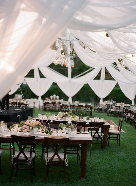 Photographer Michael Costa Glamorous Outdoor Wedding Reception With Lovely White Canopy Tent