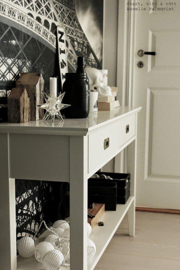 vitt avlastningsbord, före och efter renovering, vitt, bord, ljusslingor, detaljer i hall