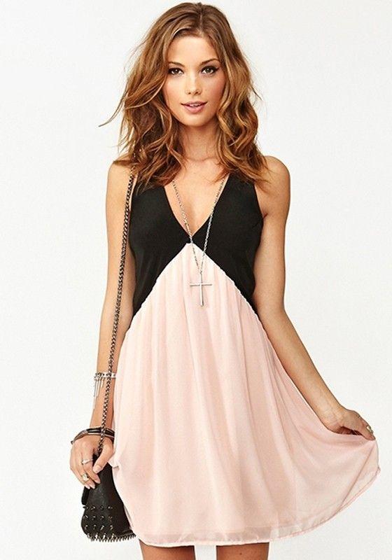 Pink Patchwork Sleeveless Plunging Neckline Chiffon Mini Dress