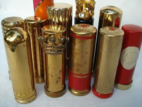 """Dita Von Tesse's lipstick collection """" I also collect vintage lipstick tubes—I freeze my lipsticks and then transfer them to the vintage cases. It's tricky to do, but it's tough to find good, beautiful lipstick cases. I'll do that with whatever red I'm wearing."""""""
