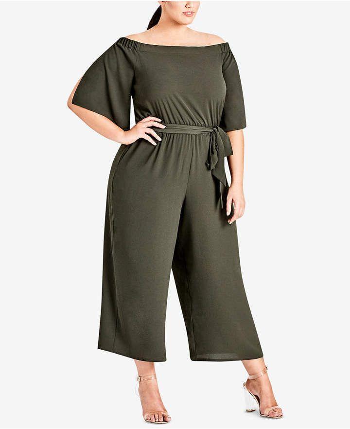 e630185505d7 City Chic Trendy Plus Size Off-The-Shoulder Jumpsuit  plussize WomenFashion