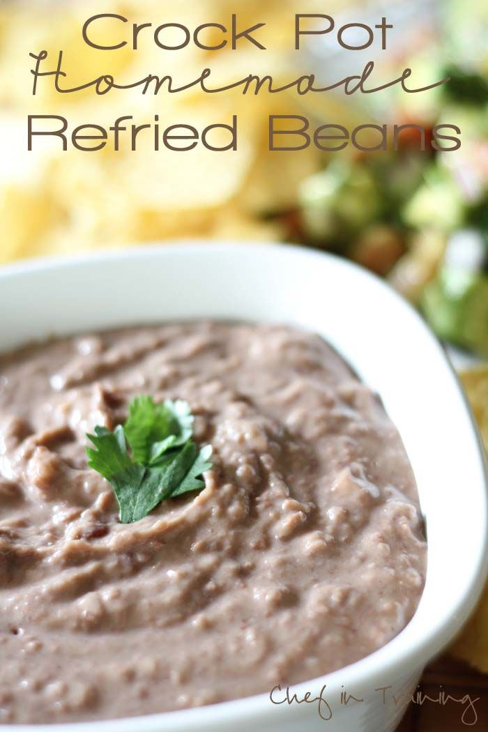 Crock Pot Homemade Refried Beans! Once you try this easy recipe, you will NEVER go back to canned re fried beans again!