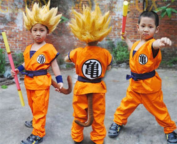 Dragon Ball Z Son GOKU Super Saiyan cosplay costume Kids uniform coat pant tail