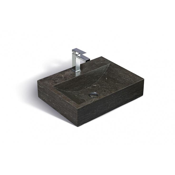 Les lavabos UNIK STONE entièrement faits de pierre calcaire grise se fondront parfaitement dans votre salle de bain. Sinks UNIK STONE completely made by grey limestone will merge perfectly in your bathroom.