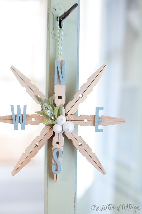 The Lettered Cottage - Clothespin Snowflake This clothespin snowflake is a breeze to make, and finds the perfect balance between shabby and chic.