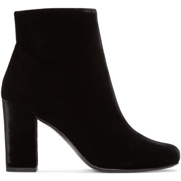 Saint Laurent Black Velvet Babies Ankle Boots (3 260 PLN) ❤ liked on Polyvore featuring shoes, boots, ankle booties, black, bootie boots, black bootie, short boots, ankle boots and black zipper boots