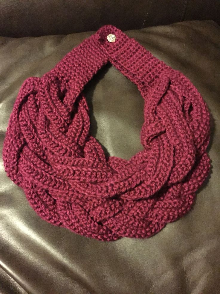 Crochet double layered braided cowl