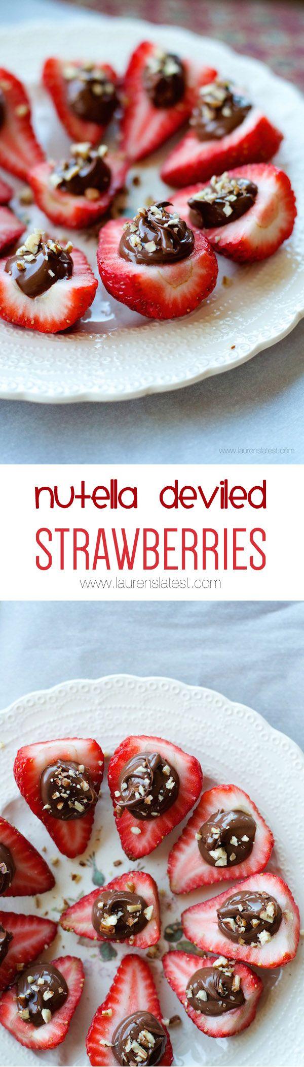 Nutella Deviled Strawberries...  Strawberries + nutella is something everyone…