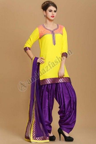 Latest online collection from the house of Andaaz. Georgette kameez lined with poly crepe. Neckline, daman & sleeves with lace work. Shantoon patiala salwar. Net dupatta with contrast borders. More Details Visit @ http://www.andaazfashion.com.my/eid-collection-2014/patiala-suit-collection.html