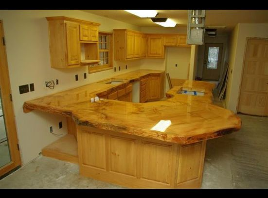 wood kitchen countertops rustic wooden countertop made of logs ranch house ideas 13148