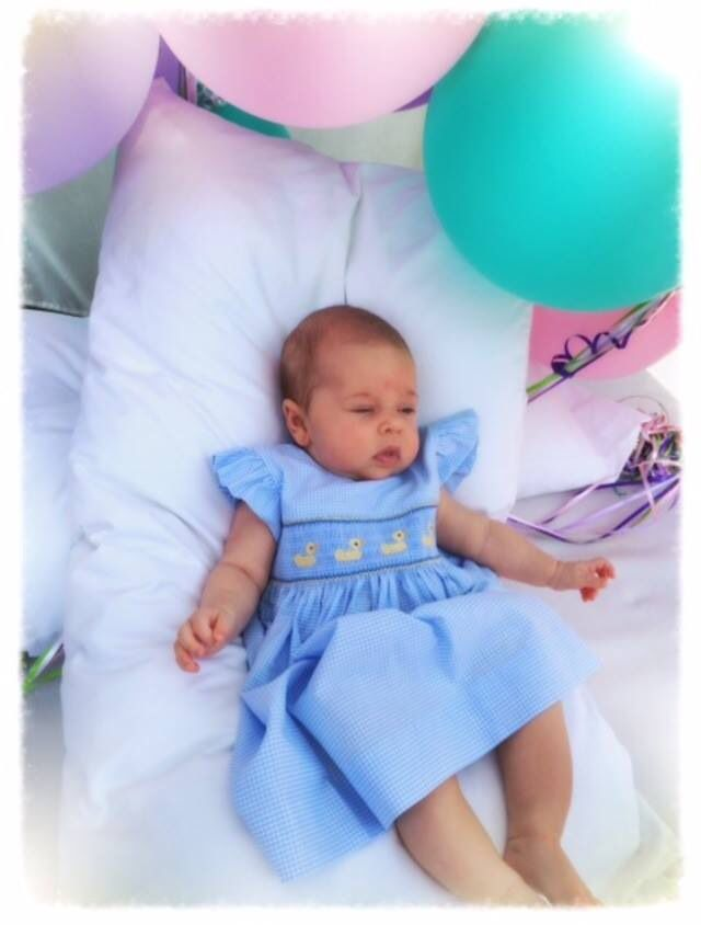 """From Princess Madeleine's Facebook, a new picture of Princess Lenore saying: """"Happy Birthday Grandpa"""" 29.04.2014"""